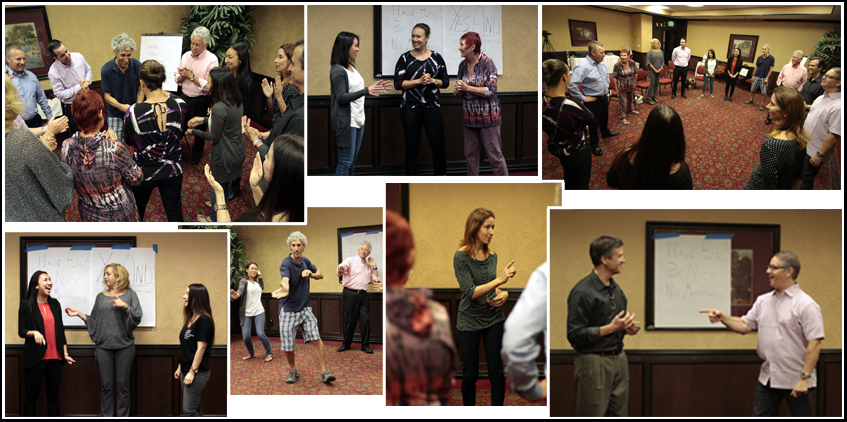 Photo montage from recent Advantage Improv Yes And workshop